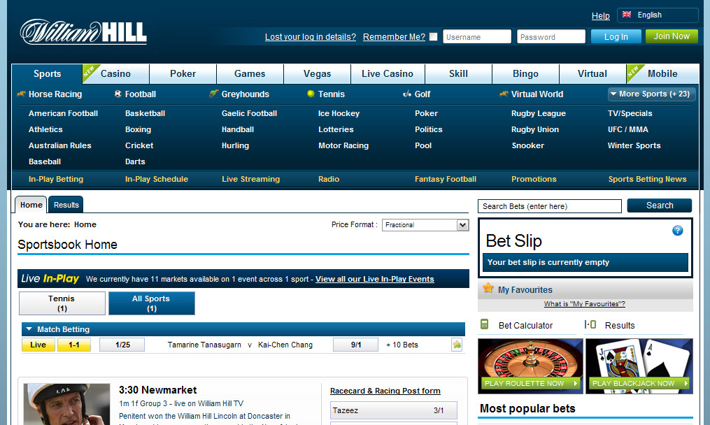 william hill betting at sports